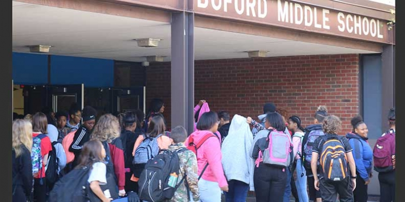 Students changing classes at Buford Middle School.