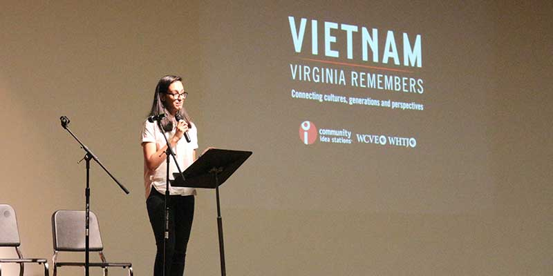 Student presents at the Vietnam War panel at CHS.