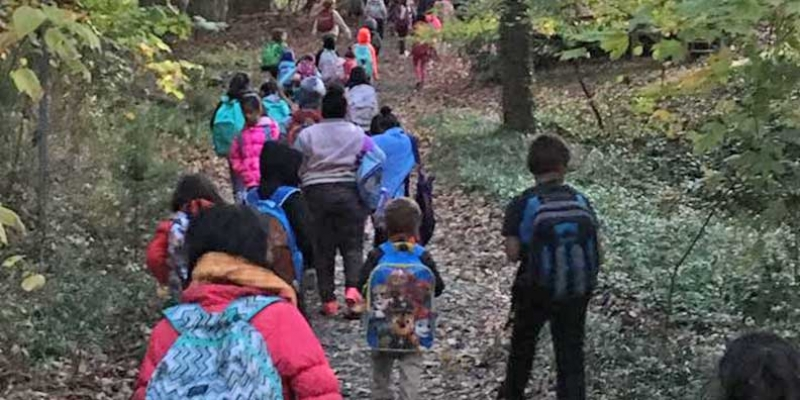 Walk to School Wednesday shows parents and students walking on wooded trail.