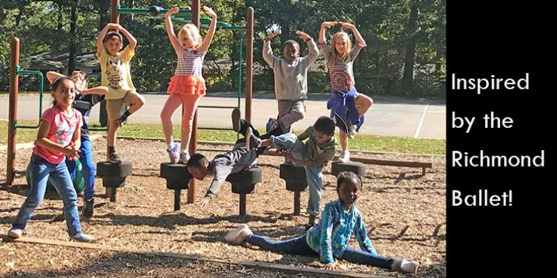 Children strike ballet poses on playground.
