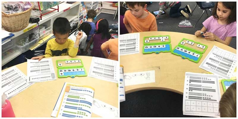 Ms. Bower's students using Versa-Tiles to learn number sequences.