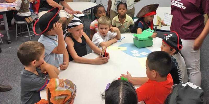 Jackson-Via students enjoy activities at Shiver-Me-Letters and Numbers night.