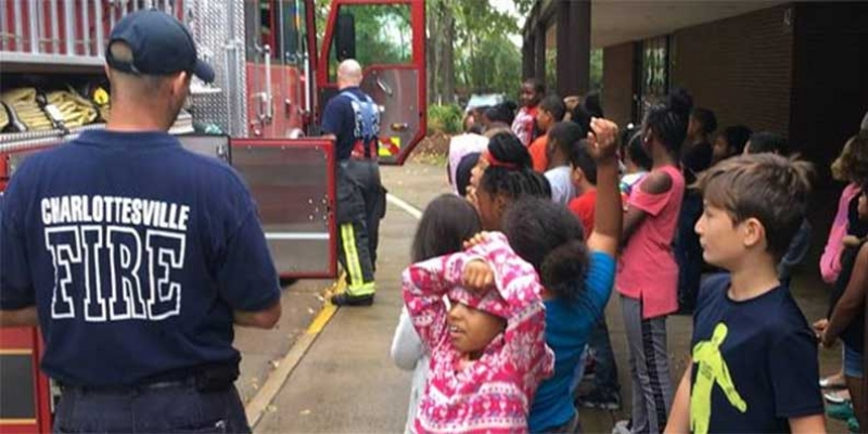 Charlottesville Fire squad visits school.