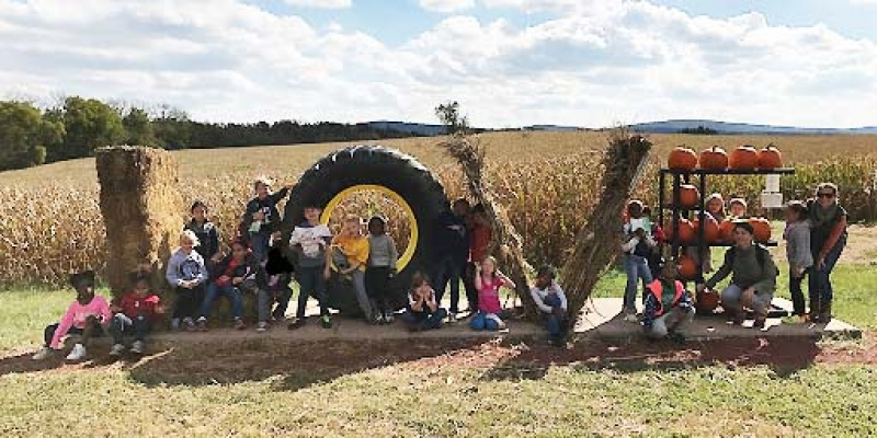 Students gather around LOVE sign on farm.
