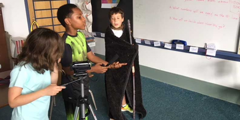 Students directing their own video.
