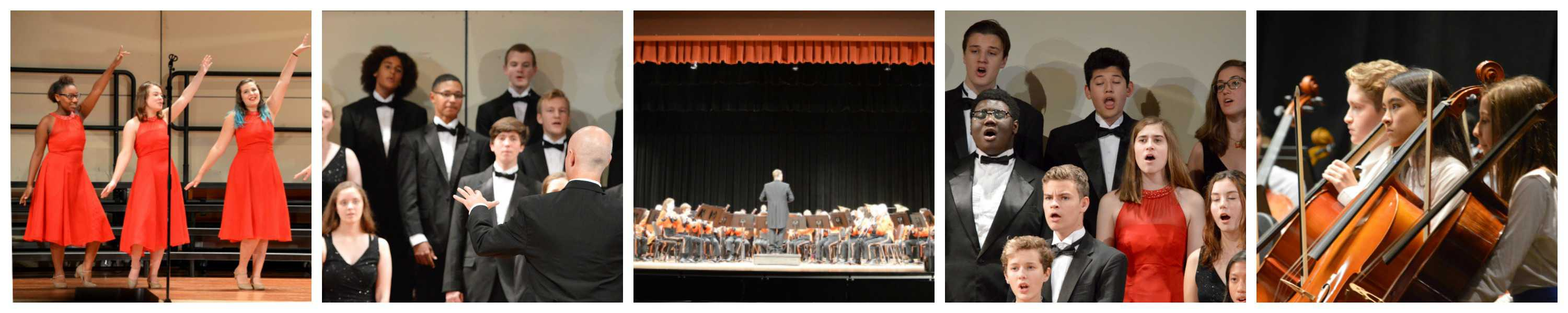 Page banner showing a collage of performances including Walker orchestra, CHS choir, and CHS band.