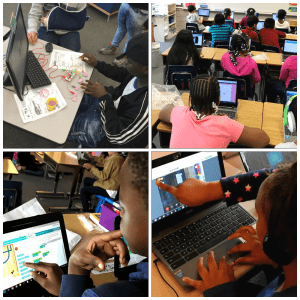 Picture collage of students participating in various coding activities.