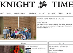 webpage screenshot of Knight Times student newspaper webpage