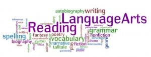 Language Arts Word Cloud: reading, writing, vocabulary, spelling, etc.
