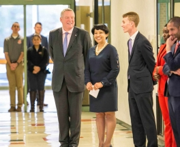 CFA Institute President and CEO Paul Smith, Superintendent Rosa Atkins, Lucas Higgins '18, Dyshe Smith '18, and Principal Eric Irizarry during ribbon-cutting. Photo courtesy CFA Institute.