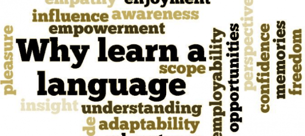 Why Learn a Language Wordcloud (tolerance, enjoyment, empathy, etc.)