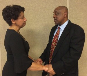 Dr. Rosa Atkins welcomes Mr. James Bryant to the School Board