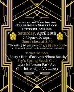 2018 CHS prom flyer (with art deco illustrations).. See web page for content.