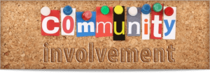 "Illustration of the words ""community involvement"""