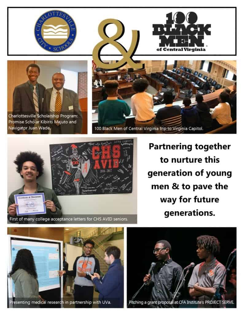 image collage about partnership between Cville Schools and 100 Black Men of Central VA. For questions, call 245-