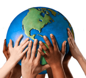 photo of globe held up by hands of different skin tones