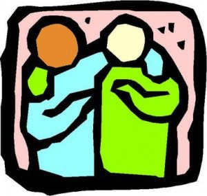 illustration of two people with arms around each others' shoulders offering support