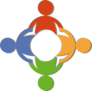 Illustration of 4 people in a circle (primary colors)