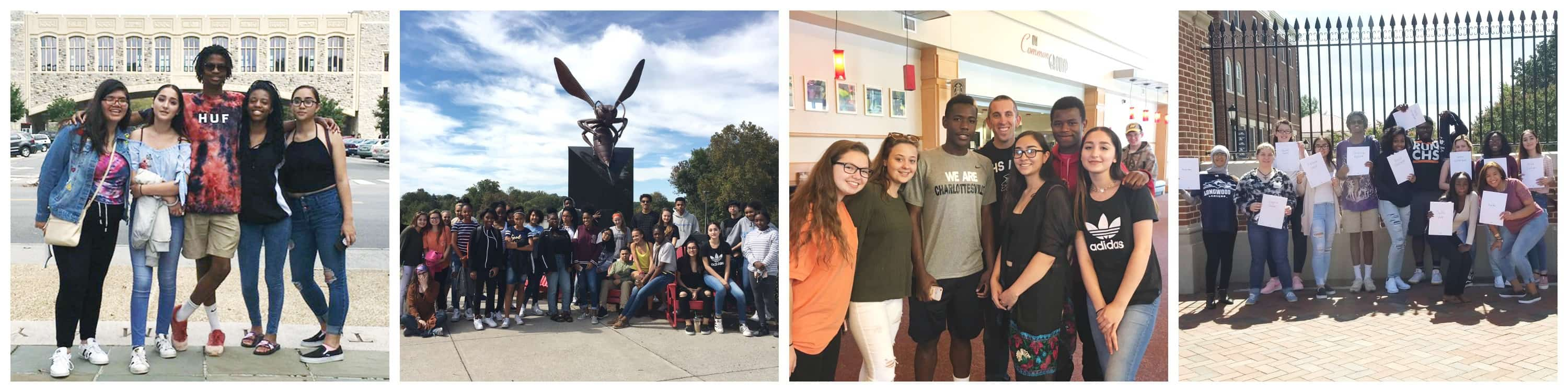 Collage of AVID students visiting various colleges