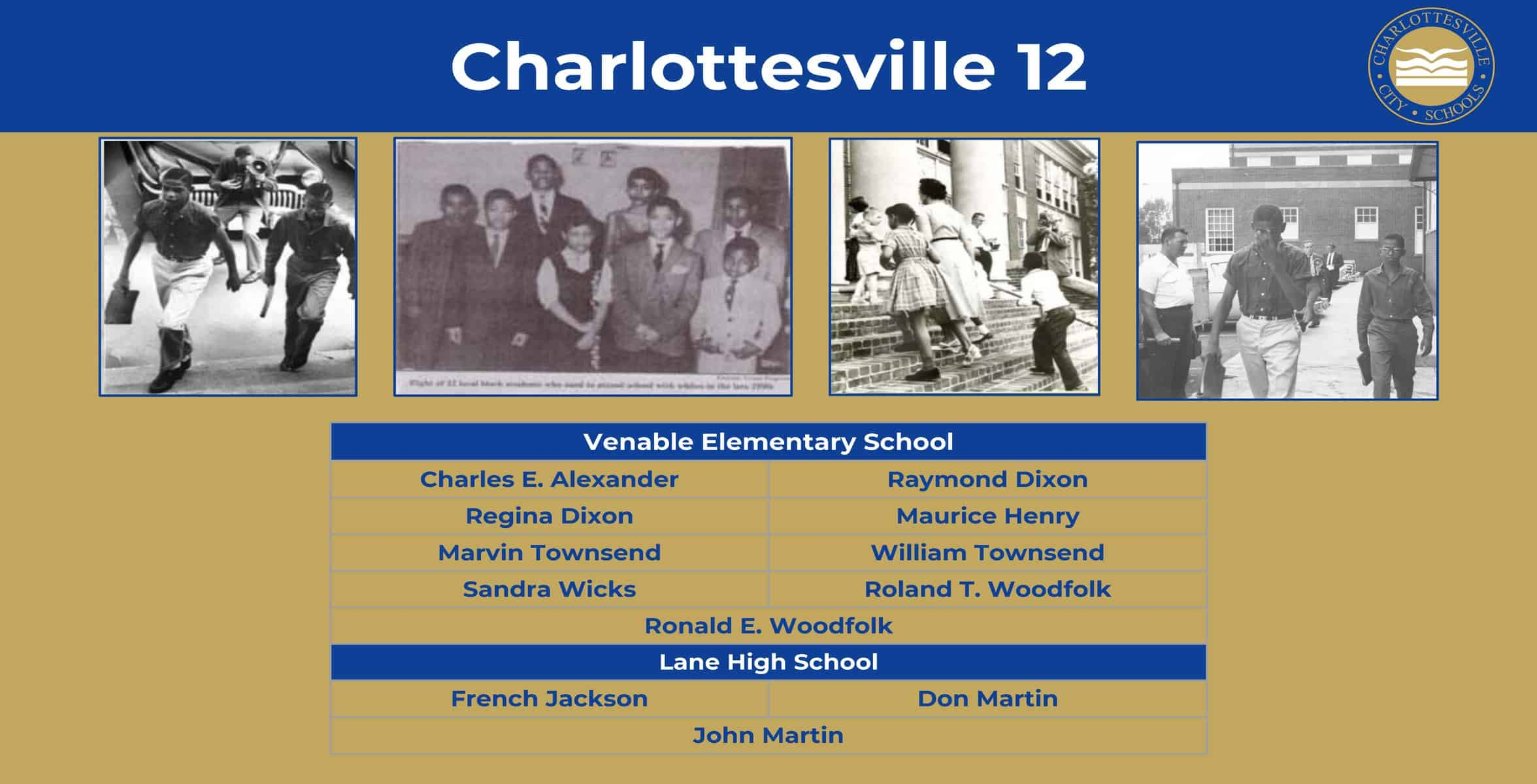 Slide showing pictures of the Charlottesville 12 and list of their names.