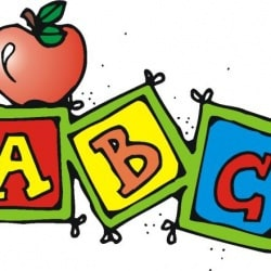 "illustration of ""ABC"" blocks with an apple"
