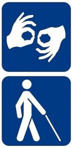 Illyustration of hands signing and person walking with cane