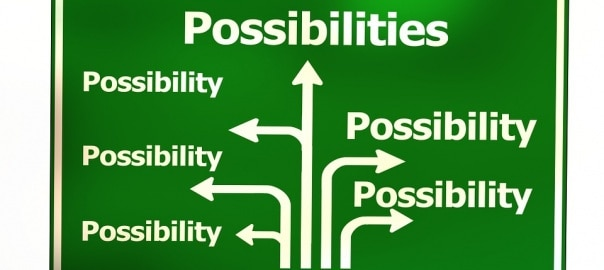 Illustration of possibilities with arrows on a sign