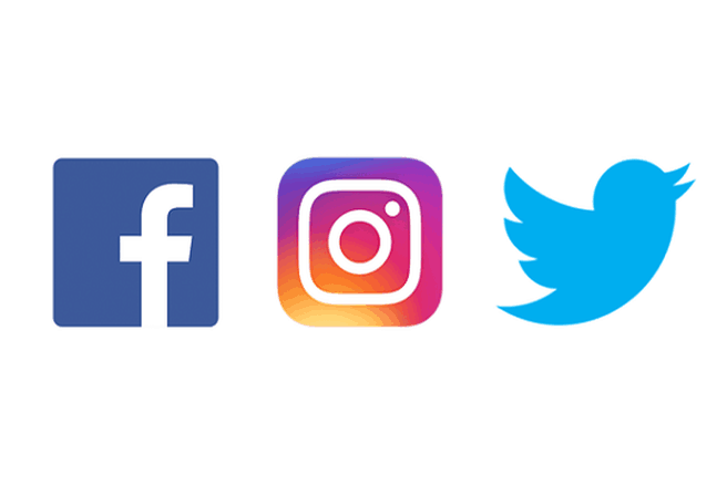 logos for Instagram, Twitter, and Facebook