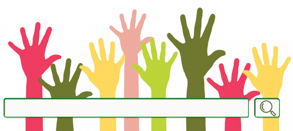 illustration of raised hands with a computer search bar