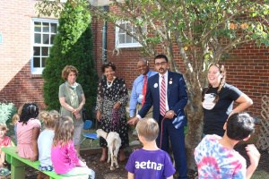 VA Secretary of Education Atif Qarni visits Venable Elementary garden.