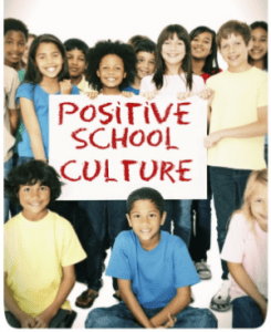 "Illustration of young teens holding a sign saying ""positive school culture"""