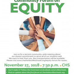 Flyer for 2nd Community Forum on Equity November 27 at CHS at 7:30. Bus service available. See post for pdf of bus schedules and more details.