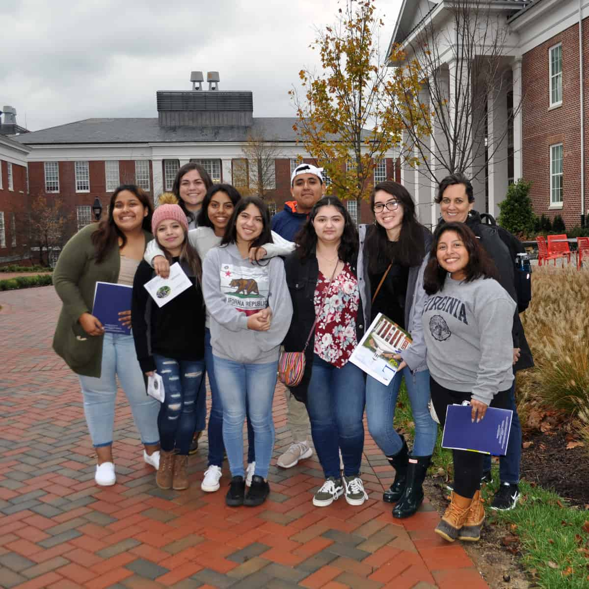 Latino students touring Washington and Lee University.