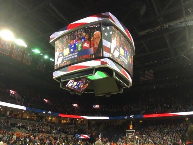 Venable students sing National Anthem at UVA Women's Basketball Game