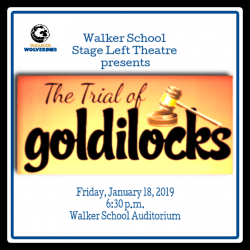 "ad for Stage Left Theatre play ""The Trial of Goldilocks"""