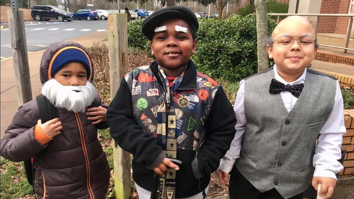 Johnson School celebrating the 100th day of school with 100-year-old students.