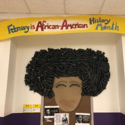 Black History Month decorations at Clark Elementary