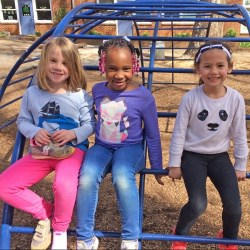 Three girls on Venable playground