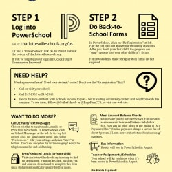 Image of the PowerSchool and Re-registration Instruction letter. See OCR PDF on this page for content.