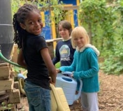 Johnson students in garden