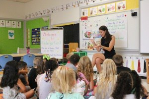 Teacher reading to kindergarten students