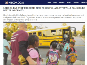 screenshot of NBC29 story on bus stop meet and greets