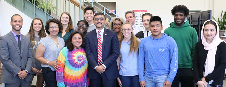 VA Secretary of Education Qarni visits CHS to talk about mental wellness.