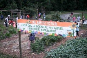 wide shot of Fall Harvest Festival banner