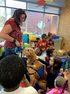Therapy dog visits Johnson.