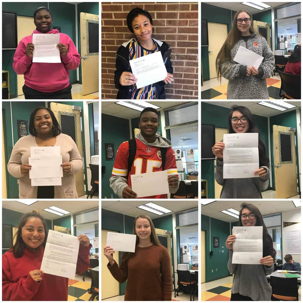 photo collage of students holding admissions letters from Radford and Longwood