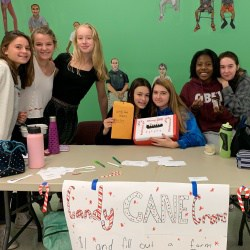 National Junior Honor Society members selling Candy Cane Grams.