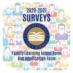 Survey graphic with Family Learning Intent Form and Bus Application
