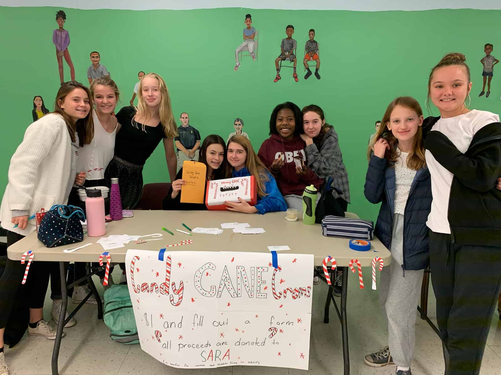 National Honor Society Members sell Candy Cane Grams.
