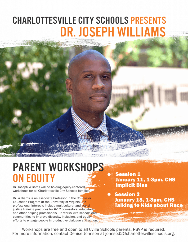 Flyer for Dr. Williams parenting workshops on Equity topics